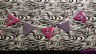 Pink / Purple Bunting with Skull Applique