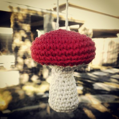 Free Crochet Pattern - Mushroom Ornament by CultGrrrl Creations